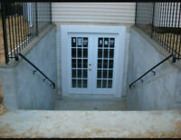Separate entrance installation, basement door cutting, windows