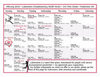 Lokamotion Complementary Health Studio February Class Schedule