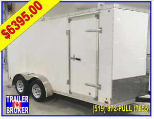 "7 x 14 V-Nose Cargo trailer Contractor,Roof Racks 6'6"", 3 Year!"