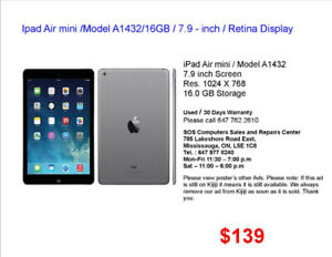 Apple iPad for Sale (Price ....................$139 to $235)