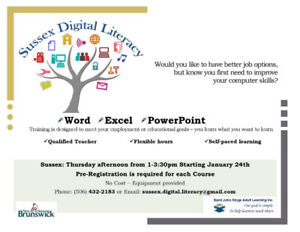 Computer training: Word, Excel PowerPoint Sussex NB