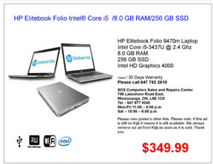 HP Elitebook Folio Intel® Core i5  /8.0 GB RAM/256 GB SSD