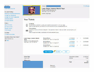 LADY GAGA TICKETS FOR AUGUST 1ST ROGERS ARENA VANCOUVER