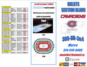 Billet Canadiens de Montréal (Section BLANC)