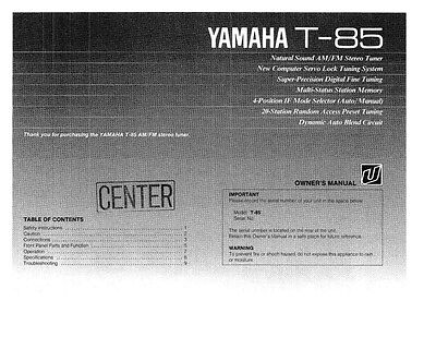 Yamaha T-85 Tuner Owners Manual