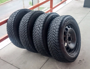 Set of four  205/55/16 Goodyear Nordic winter on  5x114.3 rims