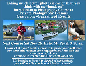 Digital Photography Course Nov 26. Christmas Gift Certificate St. John's Newfoundland image 1
