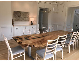 LIVE EDGE TABLE HARVEST TABLES WOOD CONFERENCE TABLE KITCHEN