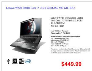 Lenovo W520 Intel® Core i7 /16.0 GB RAM/ 500GB HDD