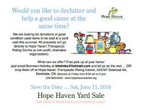Looking for Item Donations for Summer Yard Sale