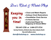 Don's Clock and Watch Shop Serving Timmins and Area