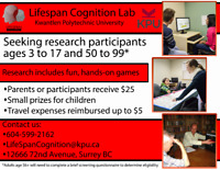 Participants ages 3-17 and 55+ needed for Paid Psychology Study
