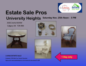 Estate Sale Calgary 1 Day Only!  2036 Uralta Rd. NW