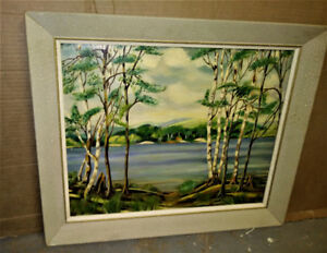 PAINTING - Nice Vintage Oil Painting - Lake Front - L.  Westover