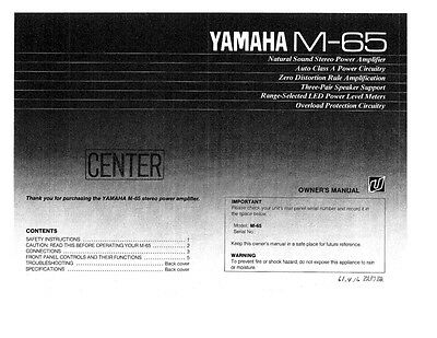 Yamaha M-65 Amplifier Owners Manual
