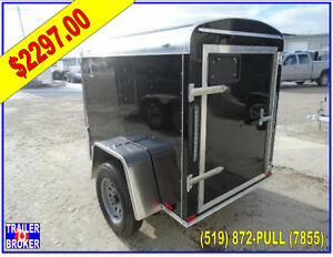 4 x 6 Enclosed Cargo Trailer with Barn door, 3 year warranty