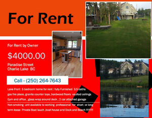 LAKEFRONT FULLY FURNISHED HOME ON CHARLIE LAKE FOR RENT 4000