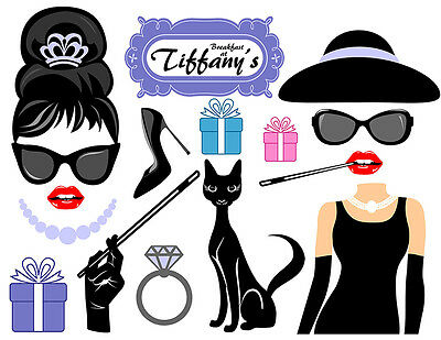DIGITAL Breakfast at Tiffany's photo booth props NO PHYSICAL ITEM - Photo Booth Items