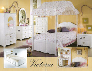 Girls white bedroom furniture with mattress
