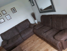 2 + 3 Seater RECLINING Sofas, soft brown suede