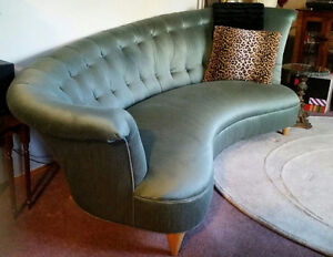 Large Vintage 1930s Kidney Bean Sea Foam Green Tufted Couch Sofa