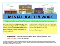 Participants for Research Study on Mental Illness and Employment