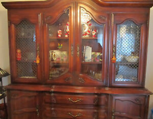 Beautiful lighted Cherrywood Hutch and Buffet