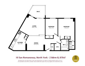 cheapest in north york 2 bedroom appartment only 1120