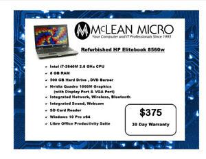 HP ELITEBOOK LAPTOP COMPUTER, Professionally Refurbished
