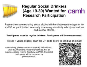 Regular Social Drinkers (Age 19-30) Wanted for Research Study