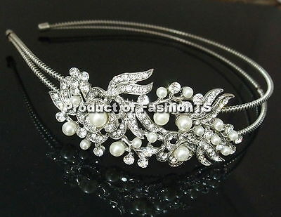 New Crystal Rhinestone Pearl Wedding Bridal Party Headband Hair Jewelry women