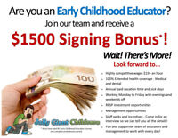 Are you a Licensed ECE? Ask us about our $1500 Signing Bonus!