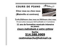 J'offre des cours de piano à mon domicile ou chez vous.