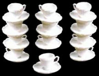 Dollhouse Miniature 1:12 Scale Chrysnbon 12 Cups and Saucers in White