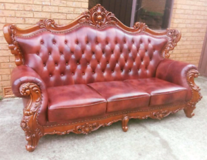 Luxury Royal Hand Carved 3 Seater Leather Sofa Rosemeadow Campbelltown Area Preview