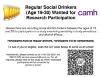 Regular Social Drinkers (19-30) Wanted For Research Study