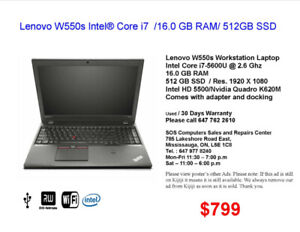 Lenovo W550s Intel® Core i7  /16.0 GB RAM/ 512GB SSD