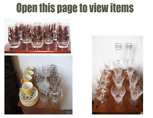 Multiple items, dishes and glasses