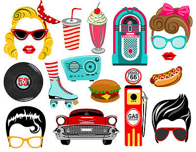 DIGITAL Fifties photo booth props NO PHYSICAL ITEM - Photo Booth Items