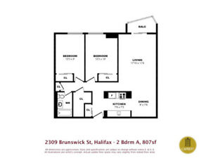 Unfurnished 2 Br in Brunswick St . highrise avail. immediately