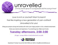 SUMMER : UNRAVELLED  YARN CRAFTS @ THE BROCKVILLE PUBLIC LIBRARY