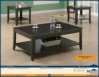 LORD SELKIRK FURNITURE -BRAND NEW 3PC CAPPUCCINO COFFEE TABLE ST
