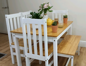 Dining table with 4 chairs and 1 bench