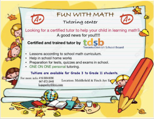 Math Tuition for grade 3 to grade 11 students