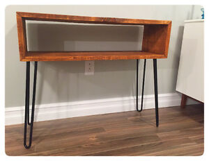 Mid century style barn board and hairpin leg table