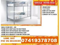 BUNK METAL BED WITH MEMORY FOAM