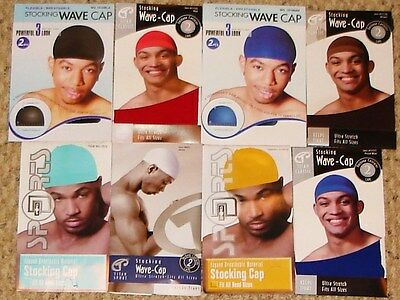 STOCKING WAVE CAPS SPANDEX KNIT DURAG DOORAG (2 PACK) MANY COLORS TO CHOOSE 2 Pack Knitted Hat