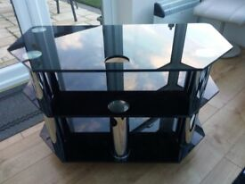 Black Glass and Chrome TV Stand on Wheels in excellent condition