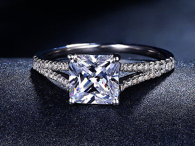 Enhanced Bridal Engagement Wedding 14k White Gold Princess Cut Diamond Ring 1 Ct
