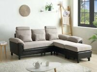 BRAND NEW CONVERTIBLE CORNER SOFA/CHAISE LOUNGE